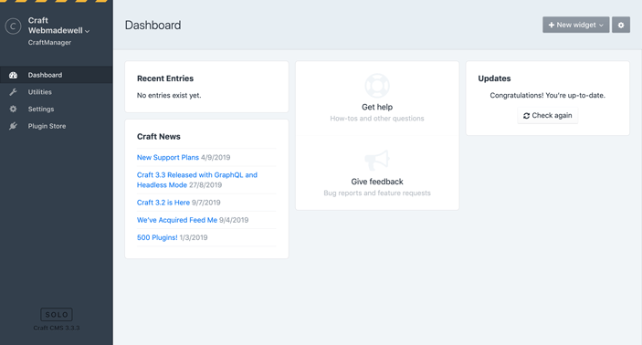 Craft CMS Admin Dashboard