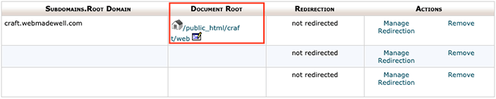 Subdomain Document Root Directory